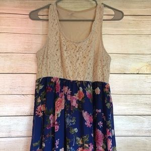 PinkBlush Blue Floral Crochet-Top Maternity Dress